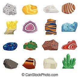 mineraal, steen, vector, set.
