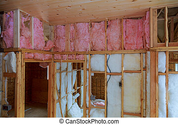 mineral, aislamiento, nuevo, calor, madera, lana, casa, hogar