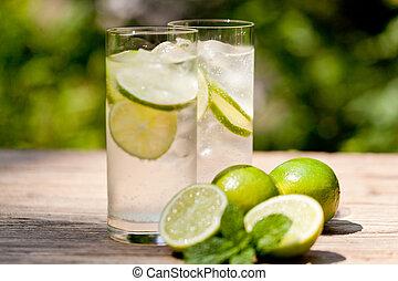 mineral, bebida, refresco, agua, soda, fresco, frío, menta, cal