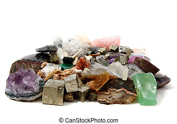 mineral collection isolated on the white background