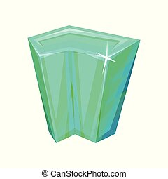 Mineral crystalic precious stone, crystal gem vector Illustration on a white background