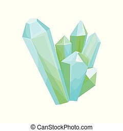 Mineral crystalic precious stones, crystal gems vector Illustration on a white background