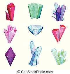 Mineral crystalic precious stones set, colorful crystal gems vector Illustration on a white background