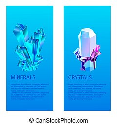 Mineral crystalic precious stones vector illustration. Transparent glass crystals isolated on blue background. Bright diamond creative rocks, earth natural resources banners.