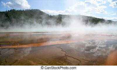 Mineral deposits, Grand Prismatic Spring, Midway Geyser Basin, Yellowstone National Park, Wyoming, USA.
