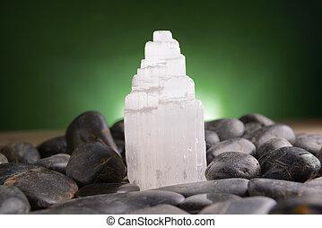 Selenite natural crystal mineral gypsum known as satin spar, desert rose, and gypsum flower