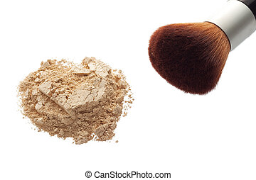 Mineral makeup powder with brush on white background