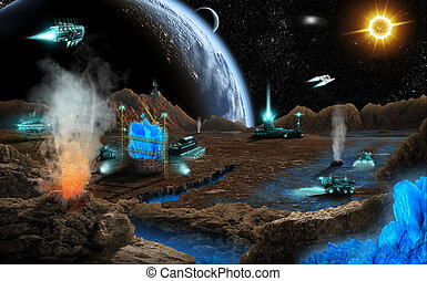 Mineral mining on far planet