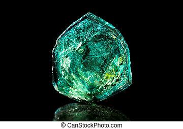 mineral, pedra, tourmaline, fundo, verde, cura, pretas