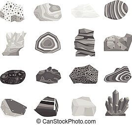 Mineral stone vector set. - Collection set of semi precious...