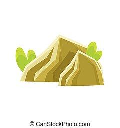 Mineral stones, rocks in natural environment vector Illustration