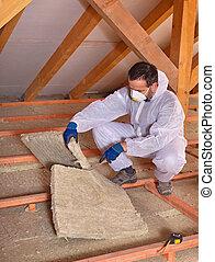 mineral, trabalhador, térmico, corte, instalar, isolação, lã, painel
