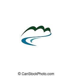 mineral, vector, río, primavera, logotipo, agua dulce, icono, montaña