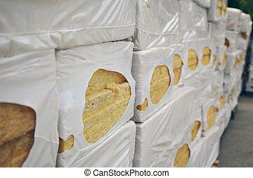 mineral, walls., textura, almacén, aislar, productos, listo, importación, lana