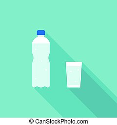 Mineral water bottle and glass of water, vector flat design icon