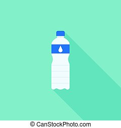 Mineral water bottle, vector flat design icon