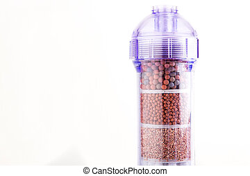 Mineral water filter on a white background.