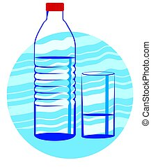 Mineral Water	 - Illustration of Water in Bottle and Glass