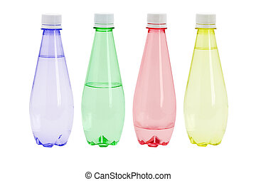 Mineral water in colorful plastic bottles on white...