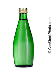 Mineral water in glass bottle with cap isolated on white