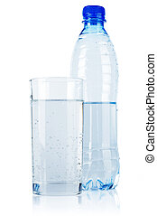 Mineral water in plastic bottle with glass isolated on white...