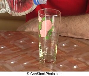 mineral water on the glass