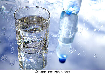 Mineral water - Glass of mineral water with blebs on...