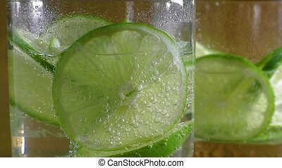 Mineral water soda with lime