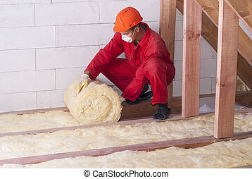 mineral wool packing - working insulates the attic with...