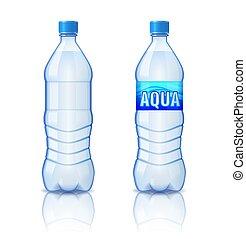 minerale, bottiglia, isolato, illustrazione, plastica, acqua, realistico, vettore, fondo, bianco