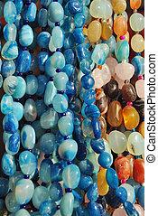 mineralien, perlen, gefärbt, los, verschieden