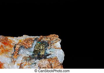 minerals detail with pyrite and quartz black