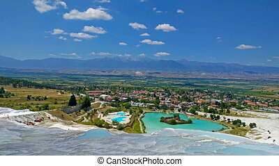 minerals in Pamukkale - View of the calcareous minerals in...