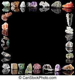 Border image of semi-precious gemstones, metals and minerals. Fluorite, Smokey Quartz, Milky Quartz, Amethyst, Agate, Olivine, Chalcedone, Salt stalactite, Aragonite, Chalcopyrite, Peridote, Citrine, Fluorite, Goethite, Jasper, Wavellite, Malachite, Pyrite, Rock Crystal, Arsenopyrite, Copper, Rock ...