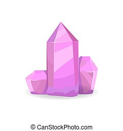 Minerals of Purple Color, Vector Illustration