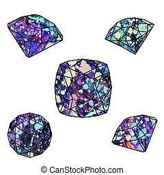 minerals., rubino, o, diamante, zaffiro, splendere, prezioso, gemstone, brillante, smeraldo, taglio, ametista, cristalli, sfavillante, opale, naturale, vettore, jewelry., gioiello