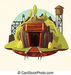 minerario, cartone animato, illustrazione