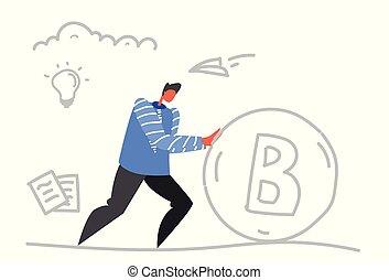 minerario, concetto, affari, riuscito, soldi, spinta, bitcoin, virtuale, crypto, cryptocurrency, schizzo, scarabocchiare, uomo affari, orizzontale, uomo