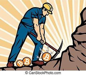 minerario, monete, minatore, bitcoin, carbone, ascia, cogliere