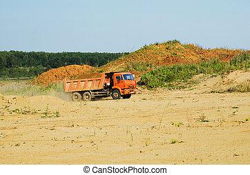 """minerario, oro, suolo, luogo, """"kamaz"""", trasportare, automobile"""