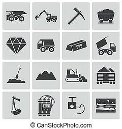 minerario, vettore, nero, set, icone