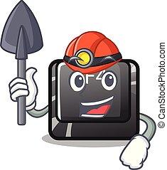 minero, botón, f4, forma, caricatura