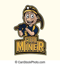 minero de carbón, diseño, ilustración, logotipo