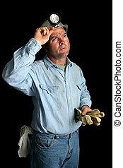 minero de carbón, -, mirar hacia arriba