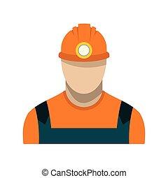 minero de carbón, plano, icono