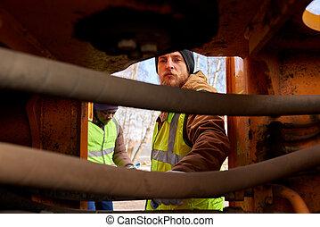 mineros, inspeccionar, vehículo