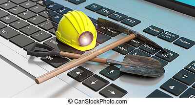 Miner's equipment on a computer keyboard. 3d illustration -...