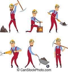 miners., satz, karikatur, charaktere