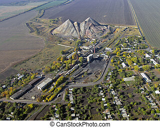 miner's, settlement, (aerial, view).