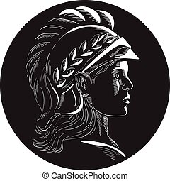 Minerva Head Side Profile Oval Woodcut - Illustration of...